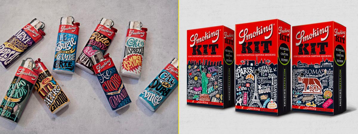 Algunos ejemplos del trabajo de Identidad credo por el GrupoErre Rousselot para Smoking
