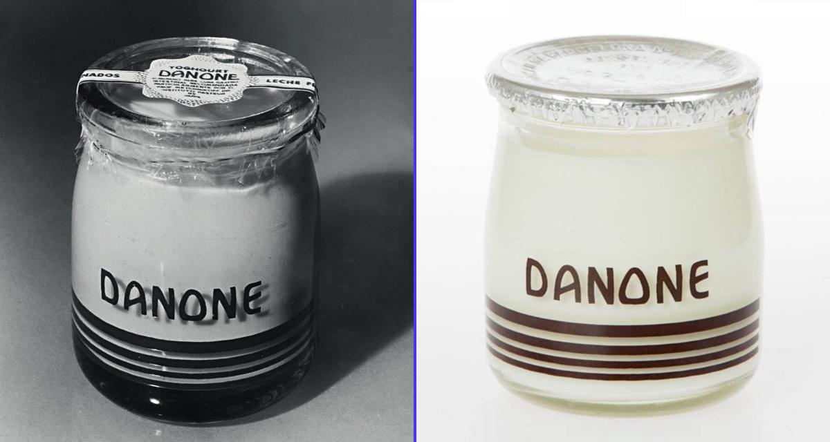 Primer envase de cristal de Danone