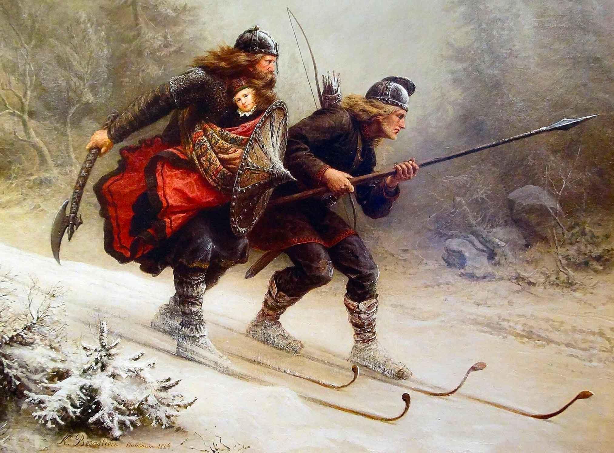 Representación de vikingos esquiando