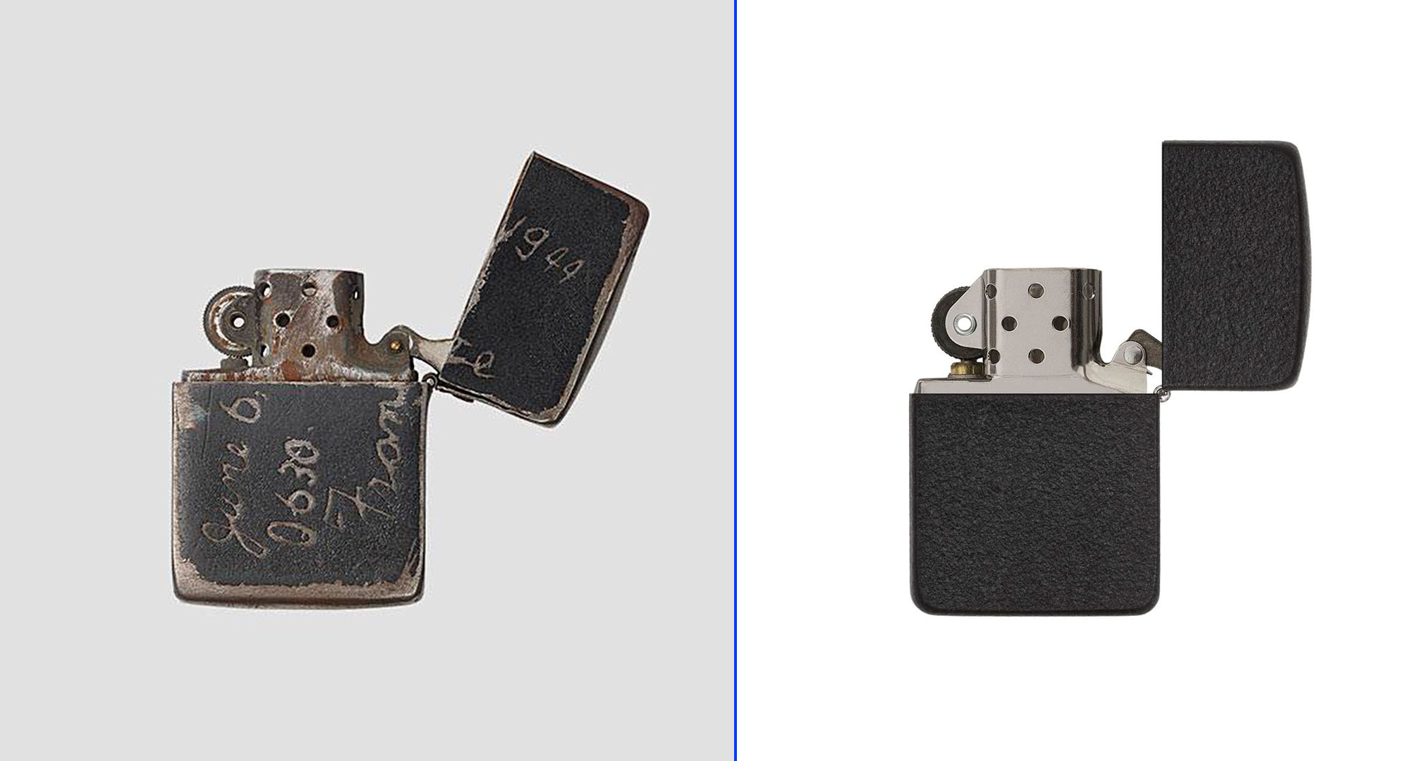 Comparativa del Zippo Black Crackle original y el moderno