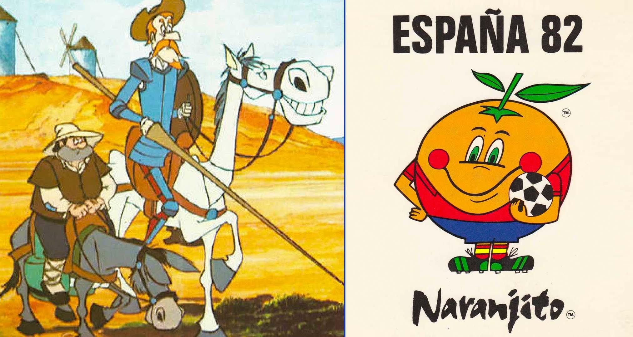 Fotograma de la serie de animación de TVE Don Quijote de la Mancha y Naranjito