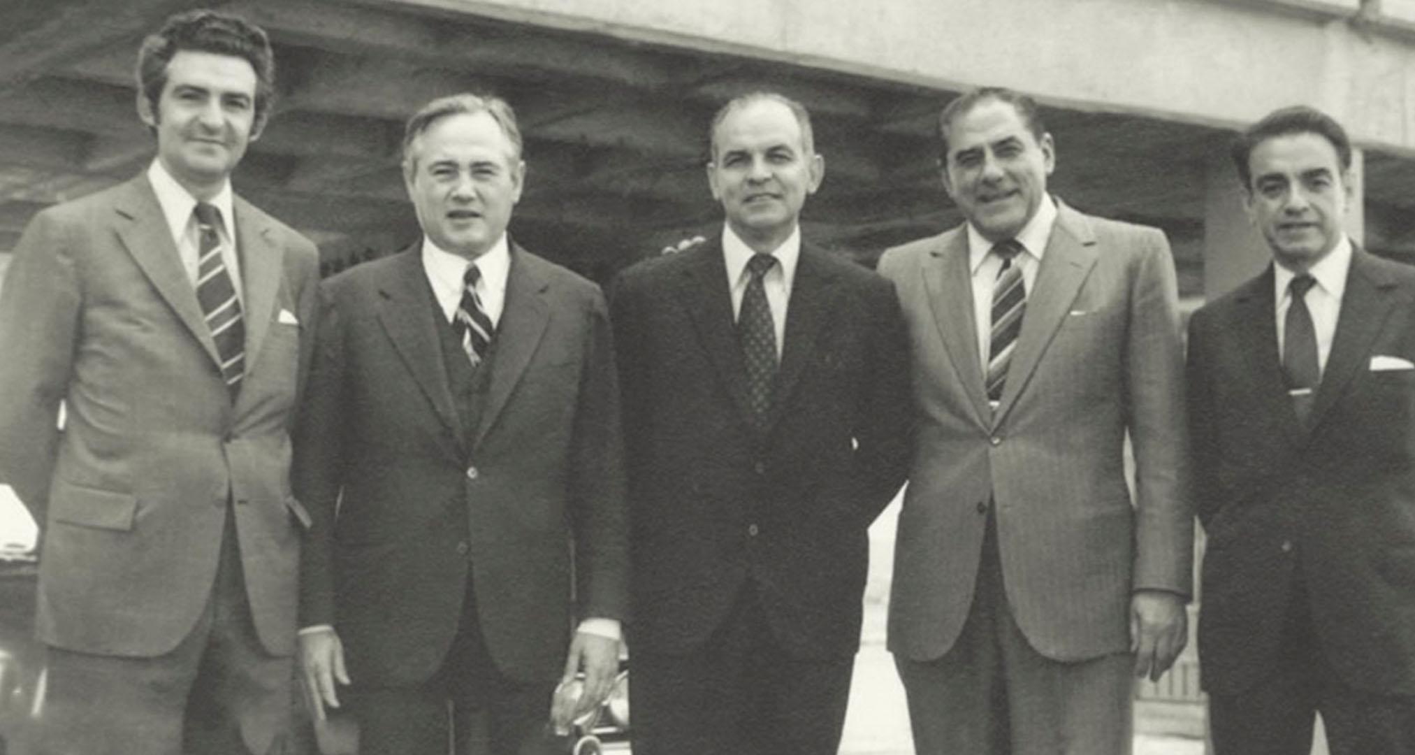 Fundadores de Bimbo. Roberto Servitje, Jaime Jorba, Lorenzo Servitje, Jaime Sendra y José T. Mata