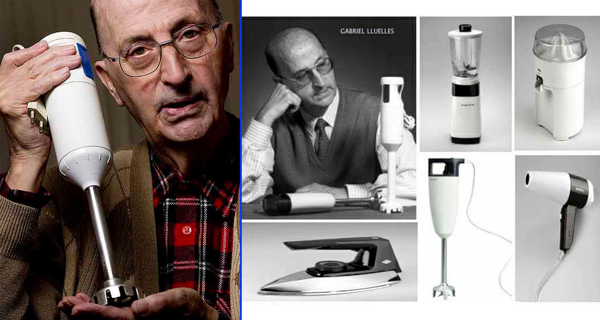 Gabriel Lluelles junto a su invento, la Minipimer y otros productos diseñados por él.
